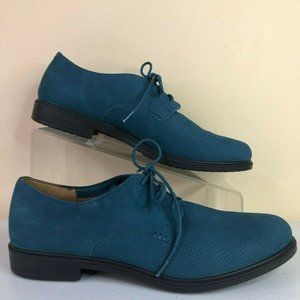 Hotter Oxford Flats Shoes Cornwall Blue Suede